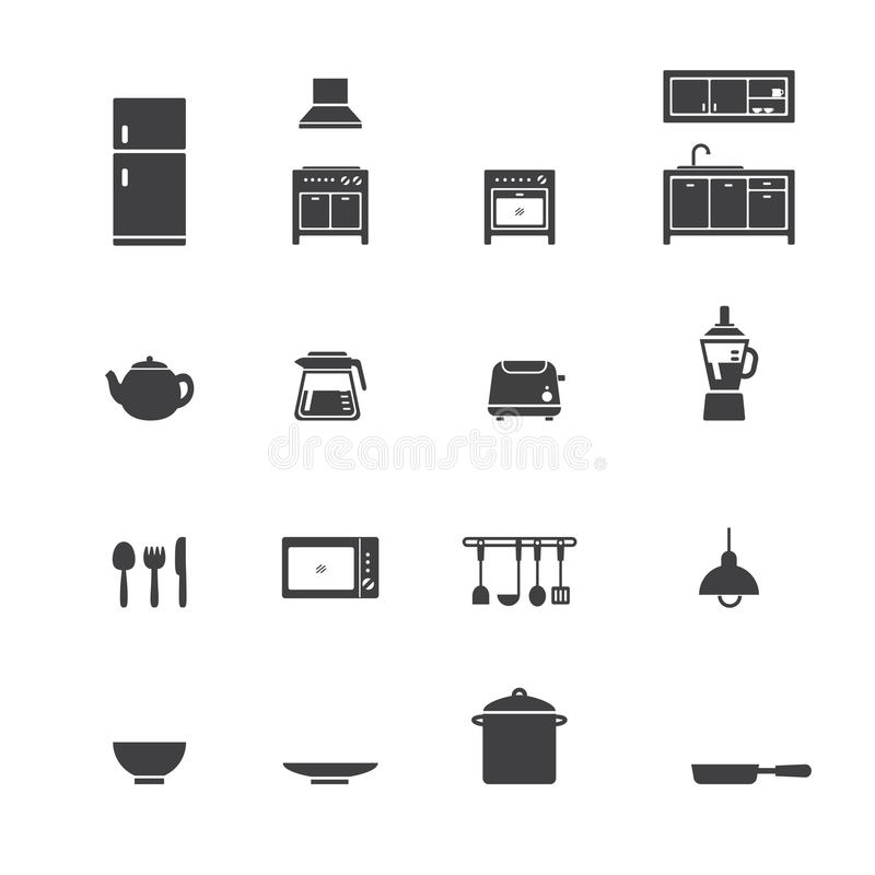 Kitchen Icon Set Stock Vector. Image Of Lamps, Icon