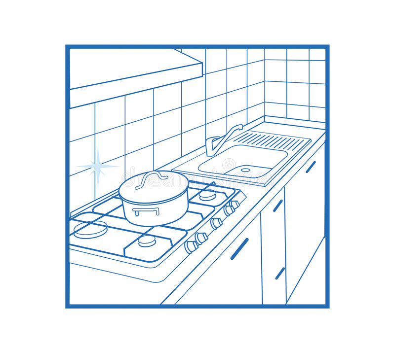 Kitchen Icon white stock illustration