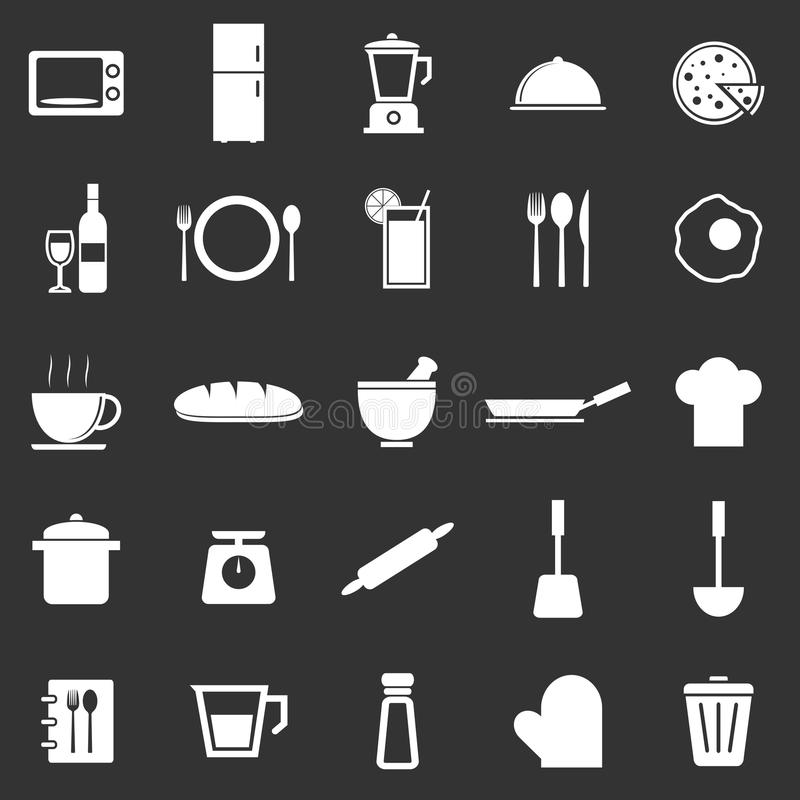 Download Kitchen Icons On Black Background Stock Images - Image: 34513394