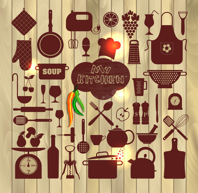 Kitchen Icons Set Of Tools. Stock Vector