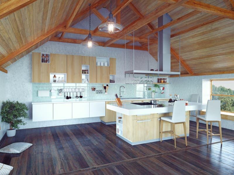 Kitchen interior in the attic royalty free illustration