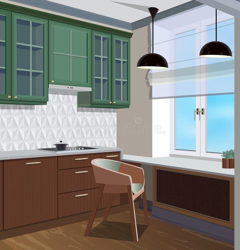 Kitchen interior background with furniture. Design of modern kitchen. Kitchen illustration royalty free stock images