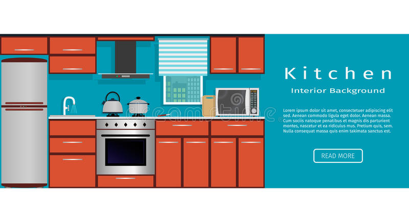 kitchen interior banner for your web design housewife workplace