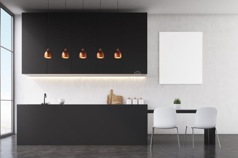 Download Kitchen Interior: Black Wall, Poster Stock Illustration - Image: 83722223