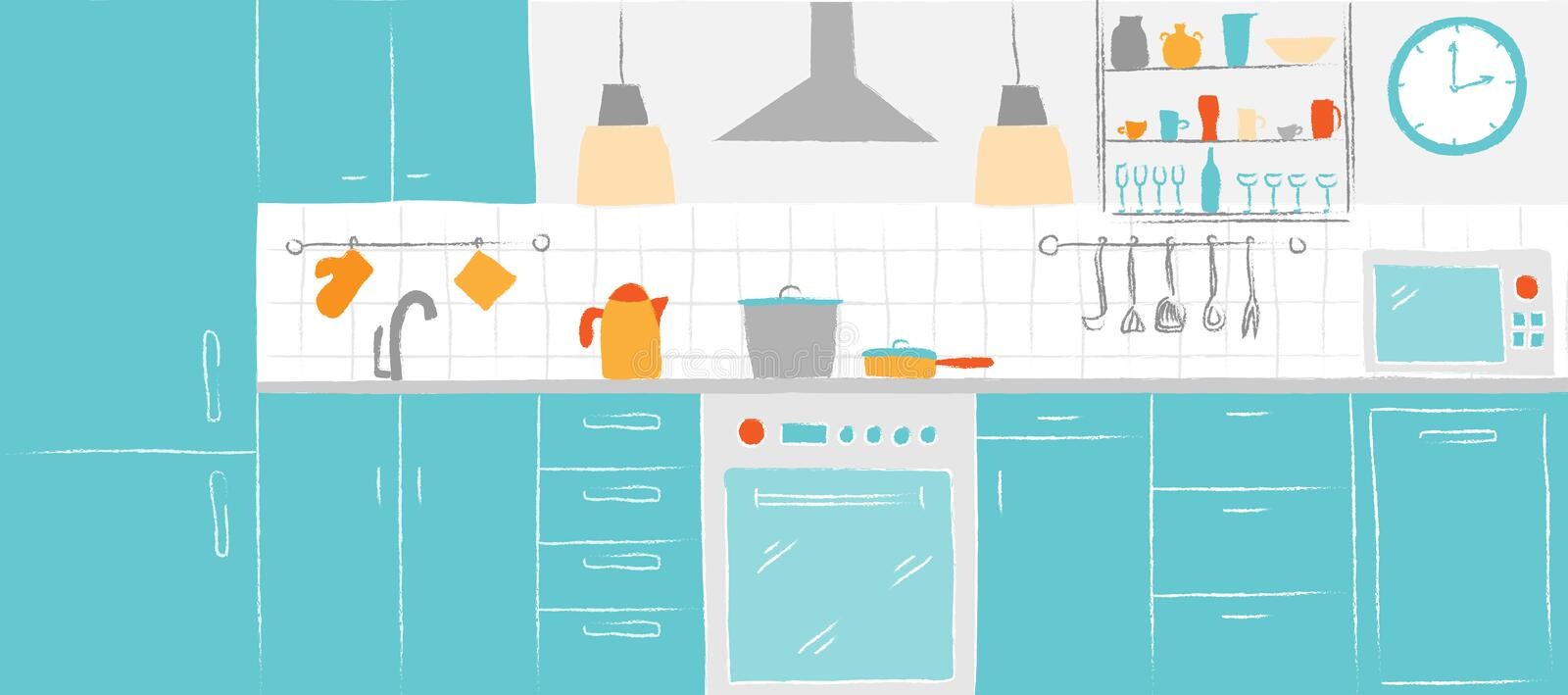 Kitchen interior color sketches hand drawing front view. Contour vector illustration kitchen furniture and equipment. royalty free illustration