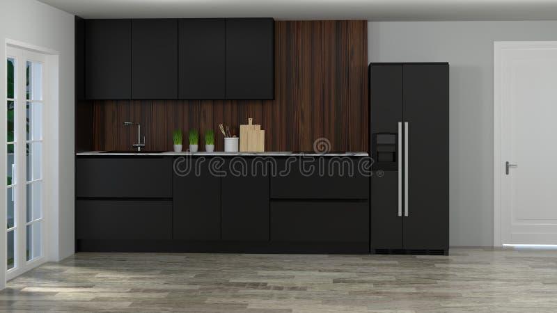 Kitchen interior cooking black color modern food restaurant 3d illustration white roomhome design background vector illustration
