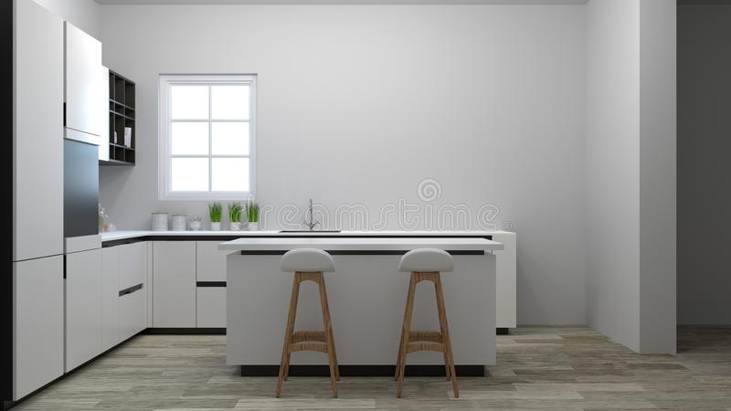 Kitchen interior cooking white table, chair, lamp modern food restaurant 3d illustration white roomhome design for copy space back stock illustration