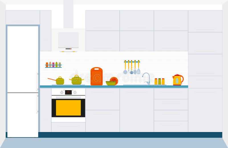 Kitchen interior design. Front view. vector illustration