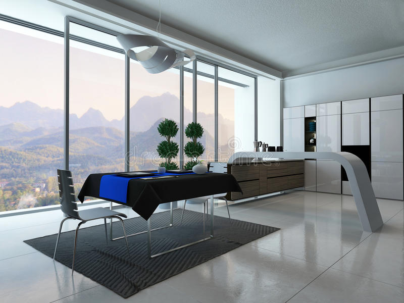 Kitchen interior with dining table royalty free illustration