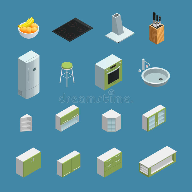 Kitchen Interior Elements Isometric vector illustration