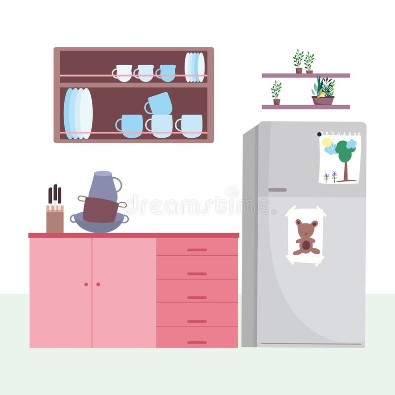 Free Kitchen Interior Fridge Drawers Crockery Cabinet And Plants In Pots Stock Image - 181979751