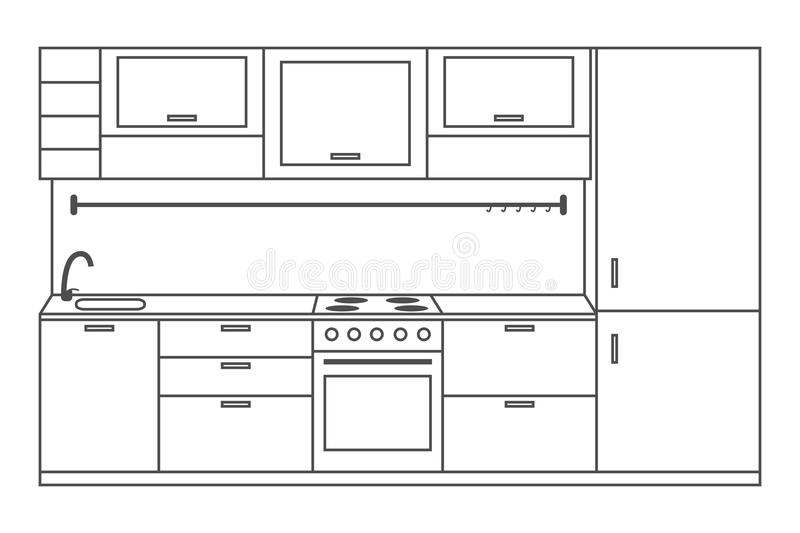Kitchen interior front view, linear sketch. Line kitchen with furniture, stove, fridge, cupboards and shelves. Vector. vector illustration