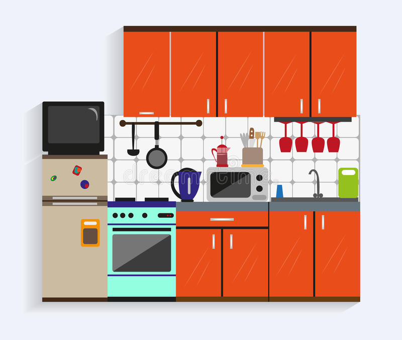 Kitchen Cabinets Online Design Tool: Kitchen Interior With Furniture In Flat Style. Design