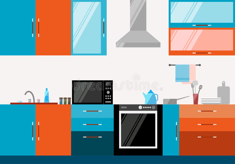 Kitchen interior. Illustration in trendy flat style with blue and orange compound objects royalty free illustration