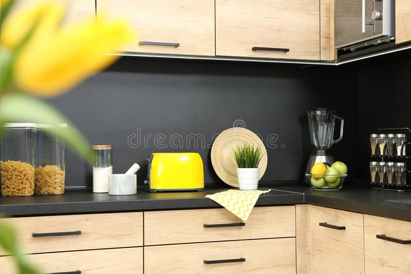 Kitchen interior with new furniture, appliances. And houseware royalty free stock photos