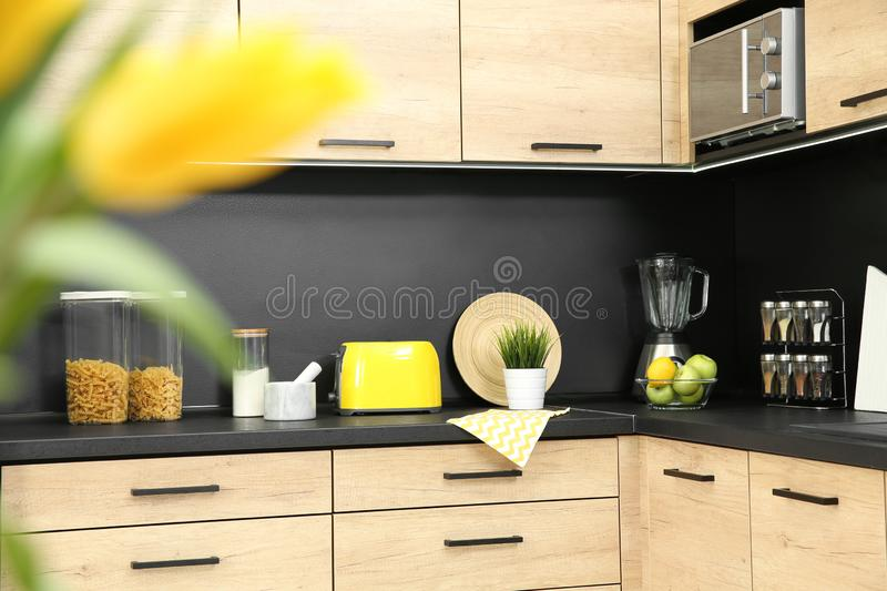 Kitchen interior with new furniture, appliances. And houseware royalty free stock photo