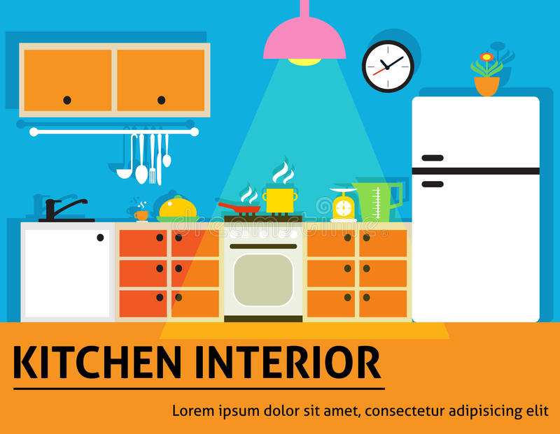 Kitchen Interior Modern Home Food Cooking Design Poster Vector Illustration.