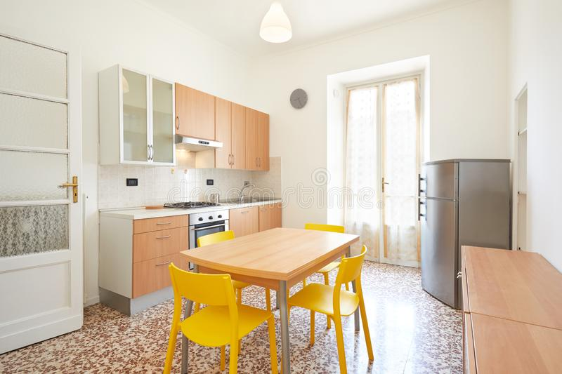 Kitchen interior in renovated, spacious apartment for rent stock photos