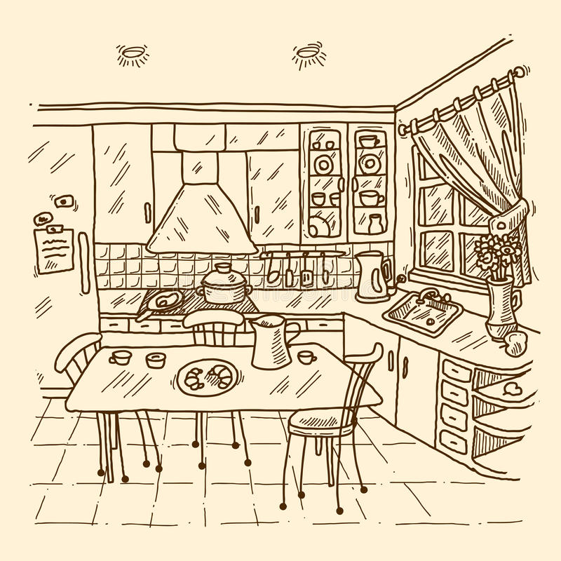 Kitchen Interior Sketch Stock Vector. Illustration Of Home