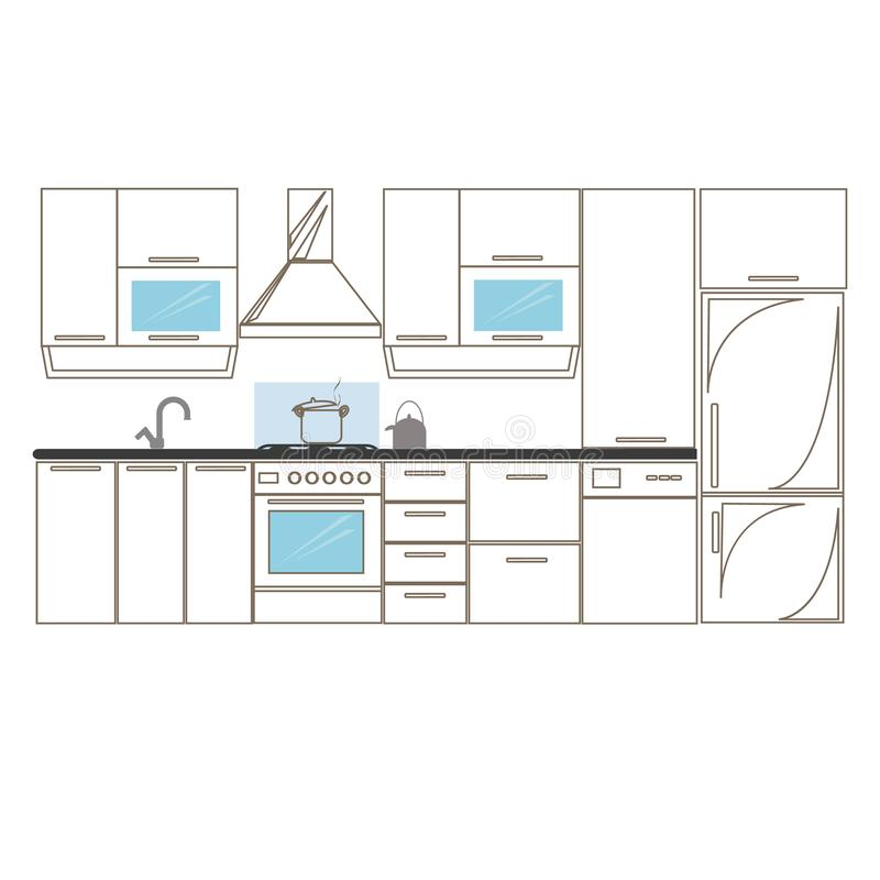 Kitchen interior sketches hand drawing front view. Contour vector illustration kitchen furniture and equipment. Cupboard vector illustration