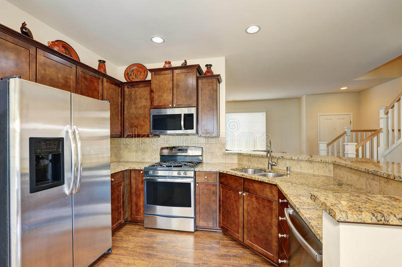Kitchen interior with steel appliances and granite counter tops. Kitchen interior with stainless steel appliances and granite counter tops. Northwest, USA royalty free stock image