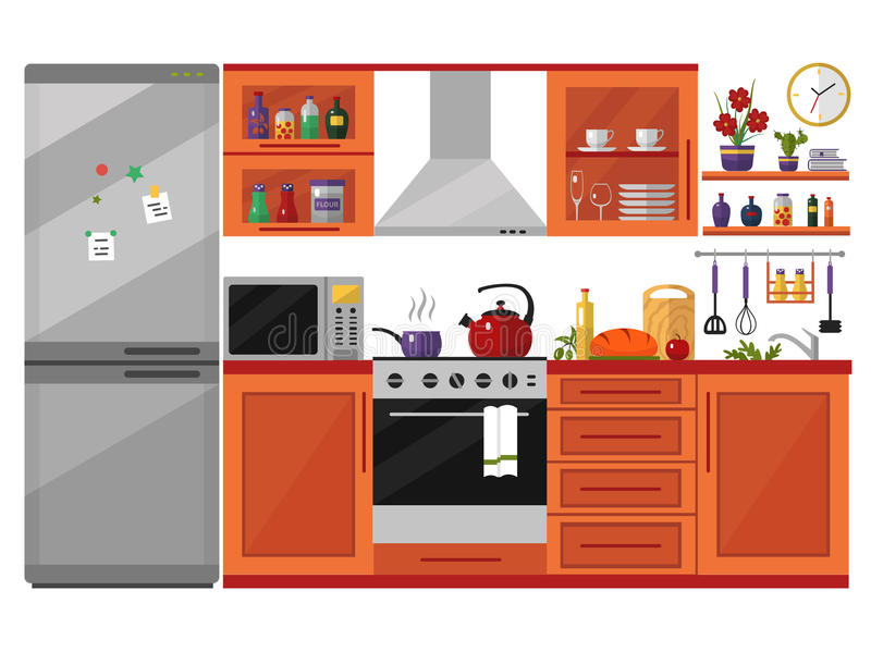 Kitchen interior with utensils, food and devices. Including fridge, oven, microwave, kettle, pot. Flat style icons and illustration royalty free illustration