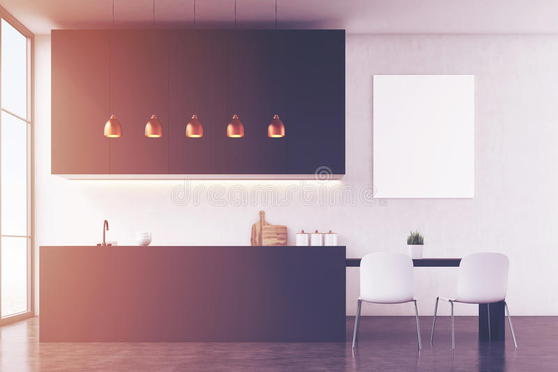 Download Kitchen Interior With White Wall And Poster Stock Illustration - Image: 83722748