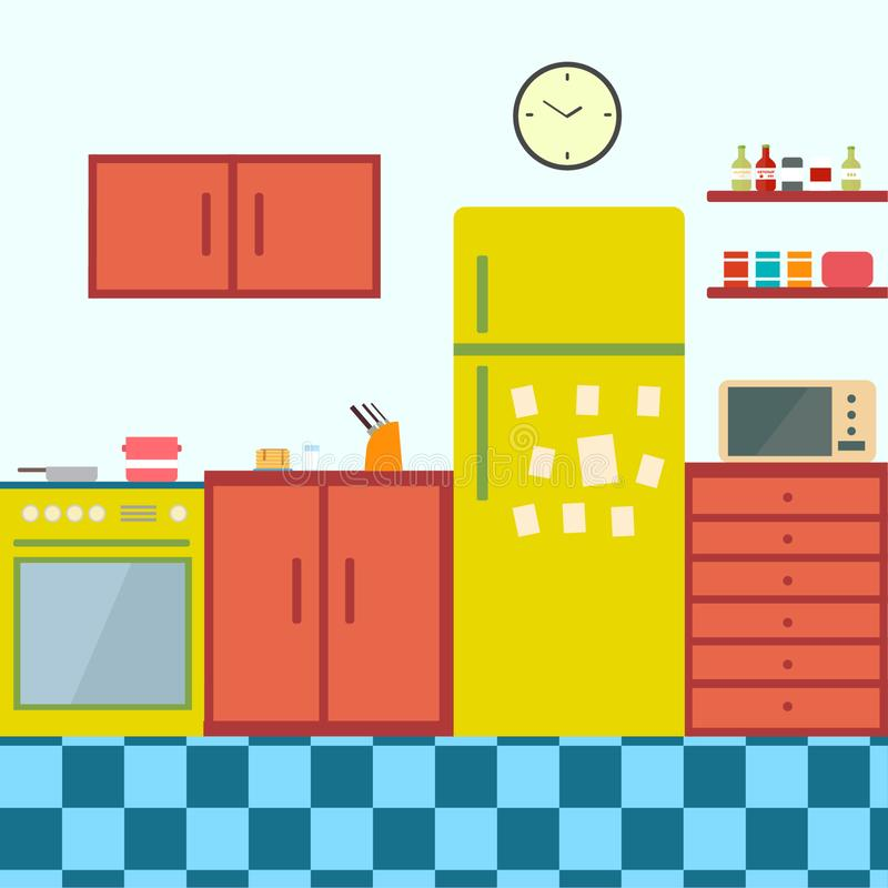 Free Kitchen Interior , With Furniture. Flat Style Vector Illustration. Royalty Free Stock Image - 168203466