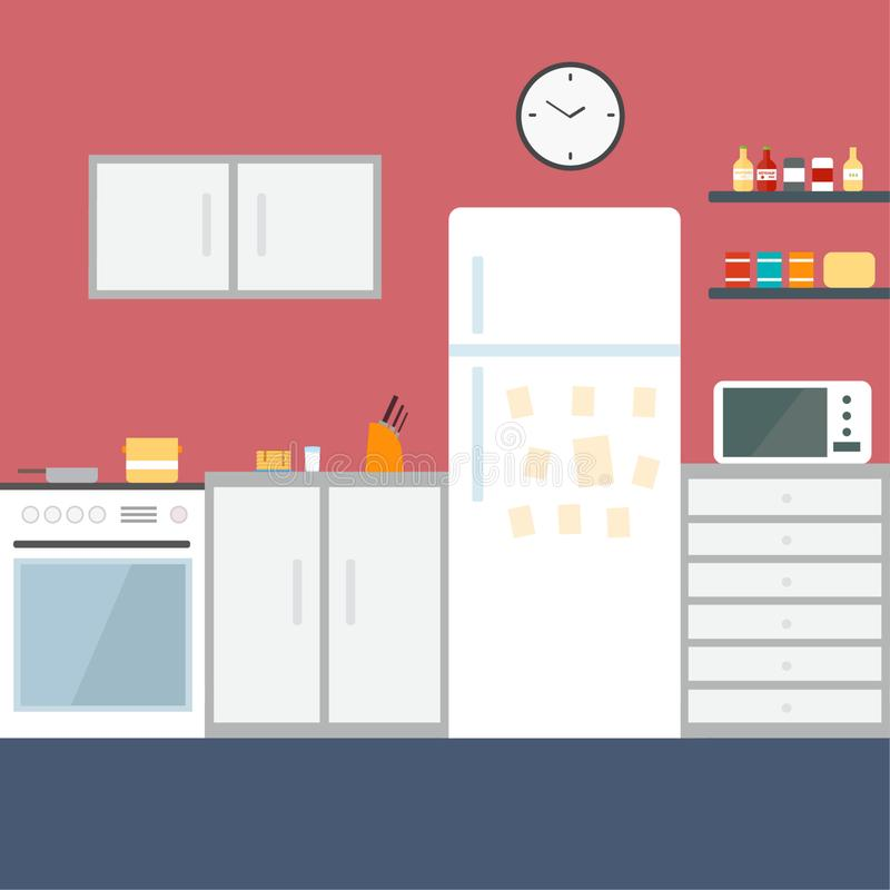 Free Kitchen Interior , With Furniture. Flat Style Vector Illustration. Stock Images - 168235274