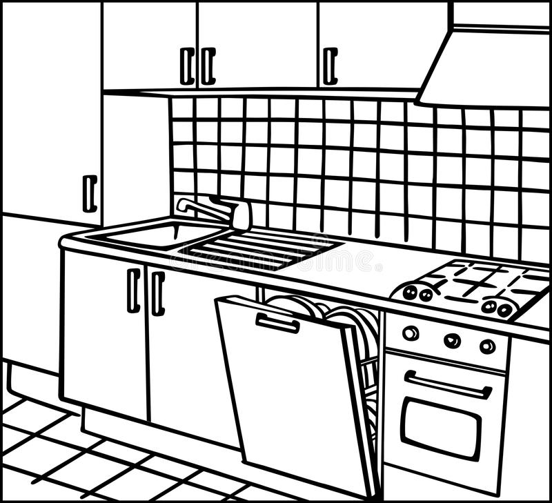Dream Kitchen Design Drawing: Kitchen Stock Illustration. Illustration Of Architectural