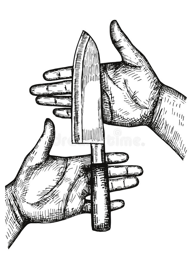 Download Kitchen Knife Big Lies In The Hands Of A Vector. Hand Drawing  Isolated Stock