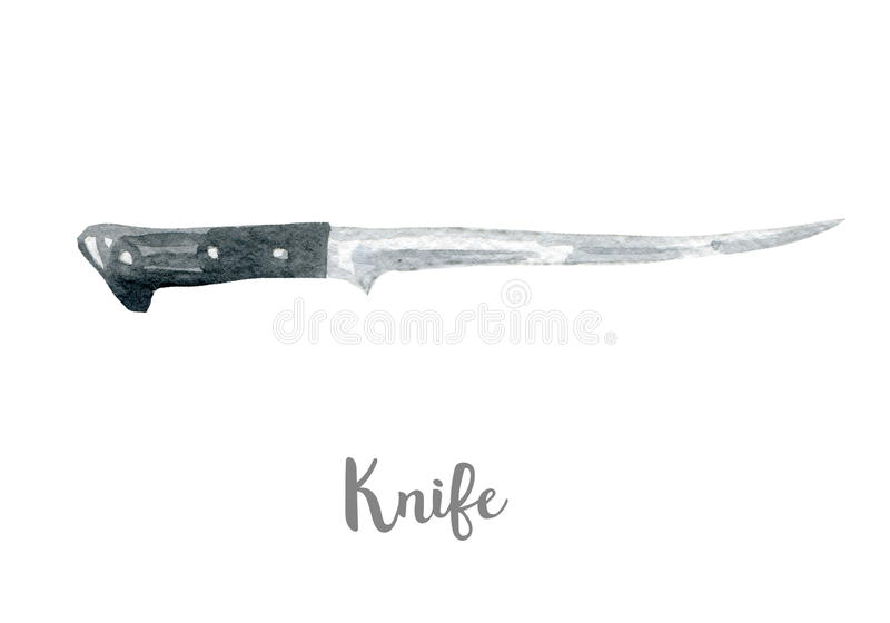 Kitchen knife illustration. Hand drawn watercolor on white background. Kitchen knife illustration. Hand drawn watercolor stock image