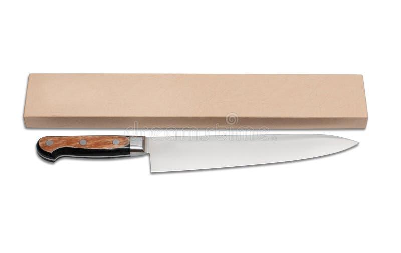 Kitchen knife Japanese. Isolated on white background royalty free stock images