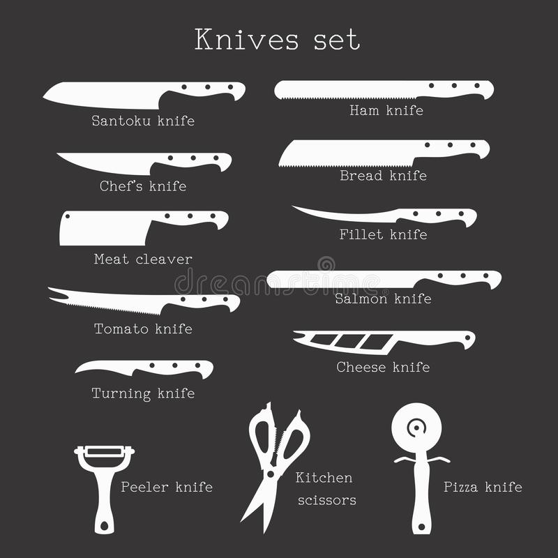 Kitchen Knives Set With Signature Names On White