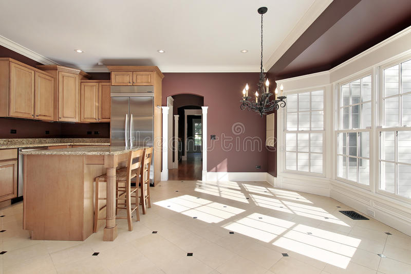 Kitchen with large eating area royalty free stock image