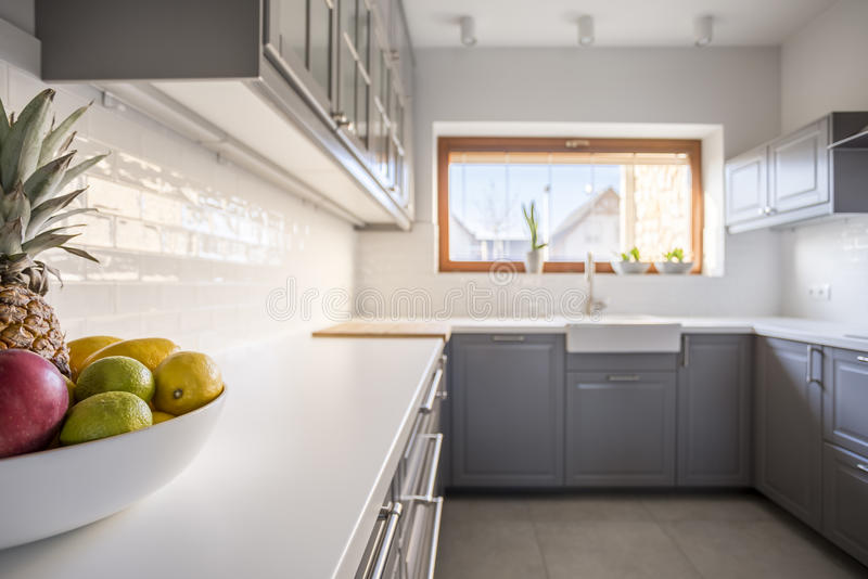 Kitchen from the left perspective royalty free stock image