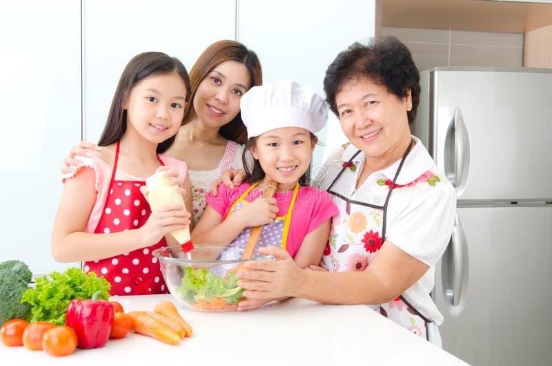 Kitchen lifestyle of asian family stock photos