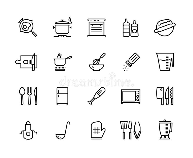 Kitchen line icons. Food cooking processes and kitchen utensils, outline pan pot and plate. Vector boiling frying and. Kitchen line icons. Food cooking processes royalty free illustration