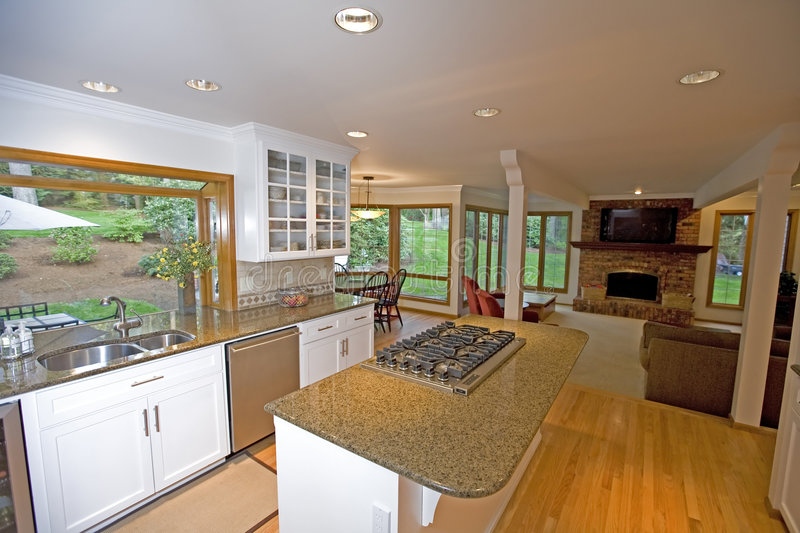Download Kitchen in luxury home stock image. Image of adjoined - 5433823