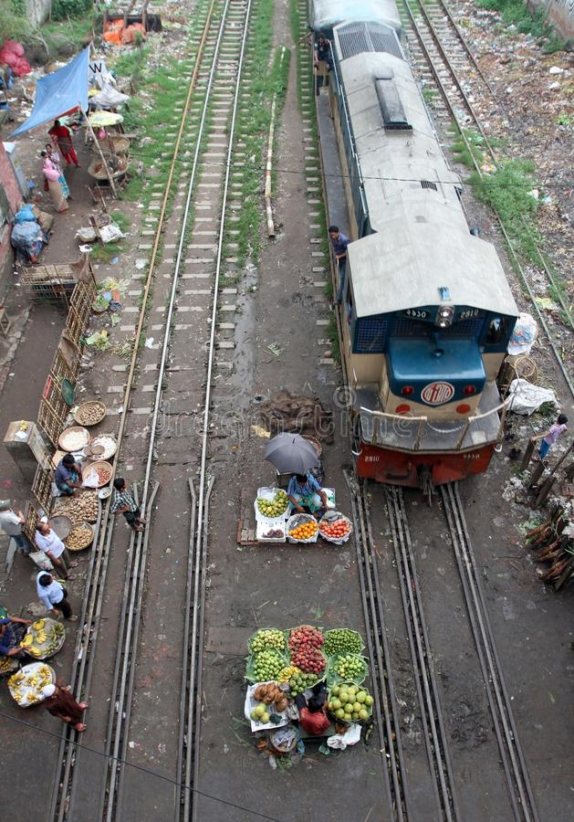 Kitchen market on the rail lines royalty free stock image