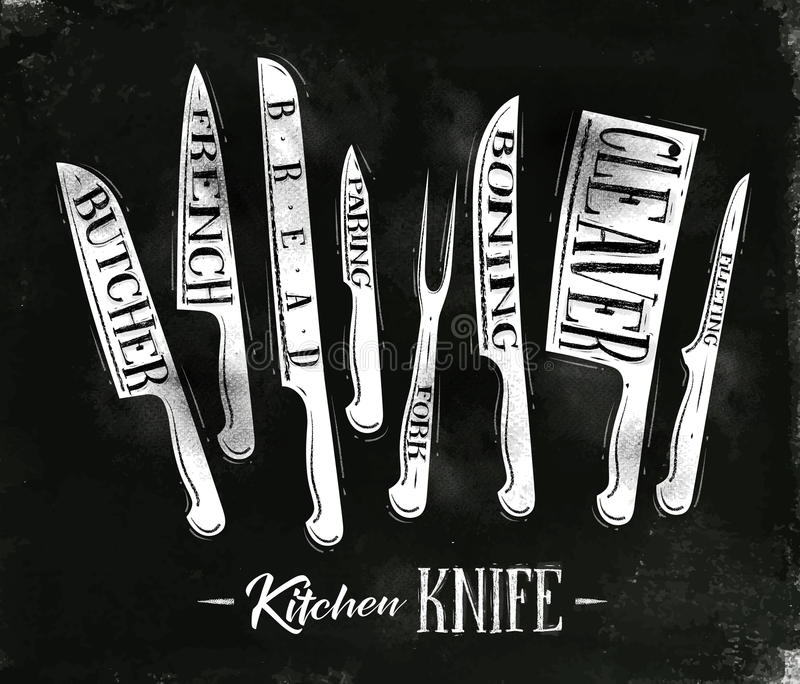 Download Kitchen Meat Cutting Knifes Poster Stock Vector - Illustration of handle, filleting: 83717644