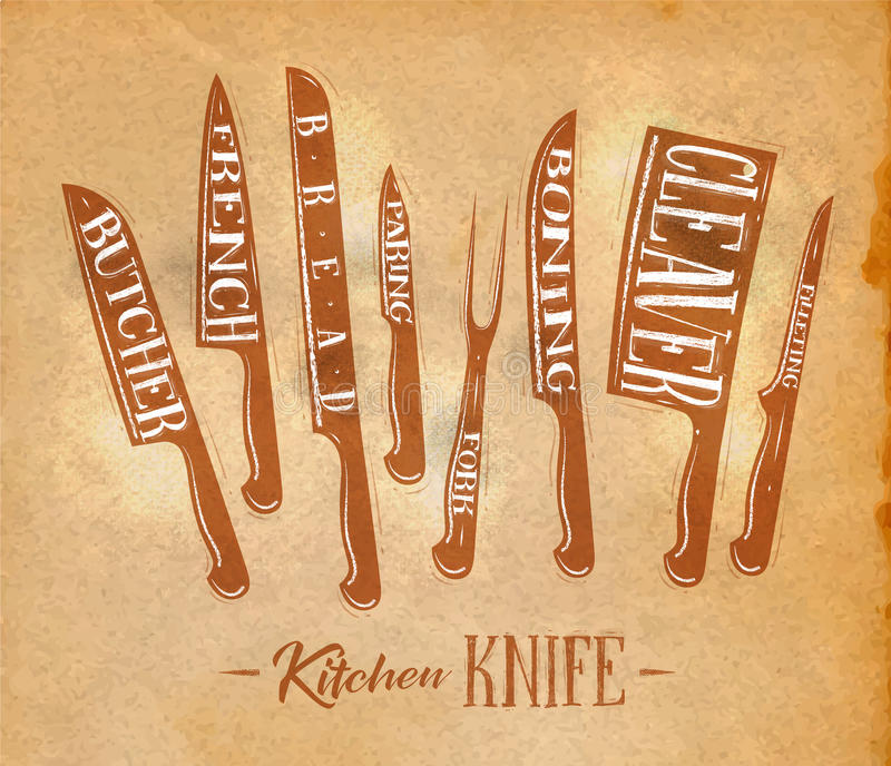 Download Kitchen Meat Cutting Knifes Poster Craft Stock Vector - Image: 83718937
