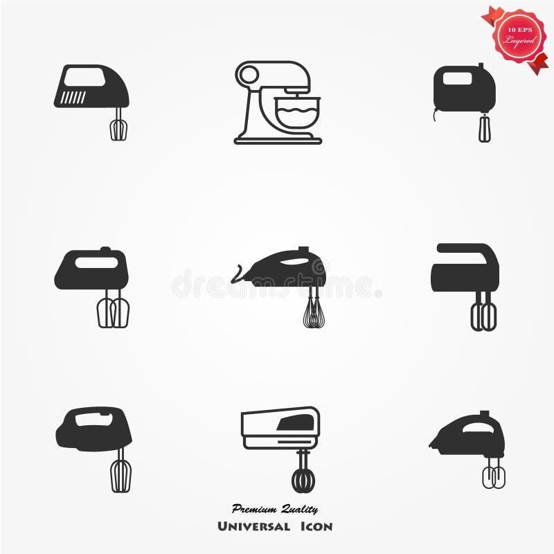 Kitchen mixer icons set stock illustration