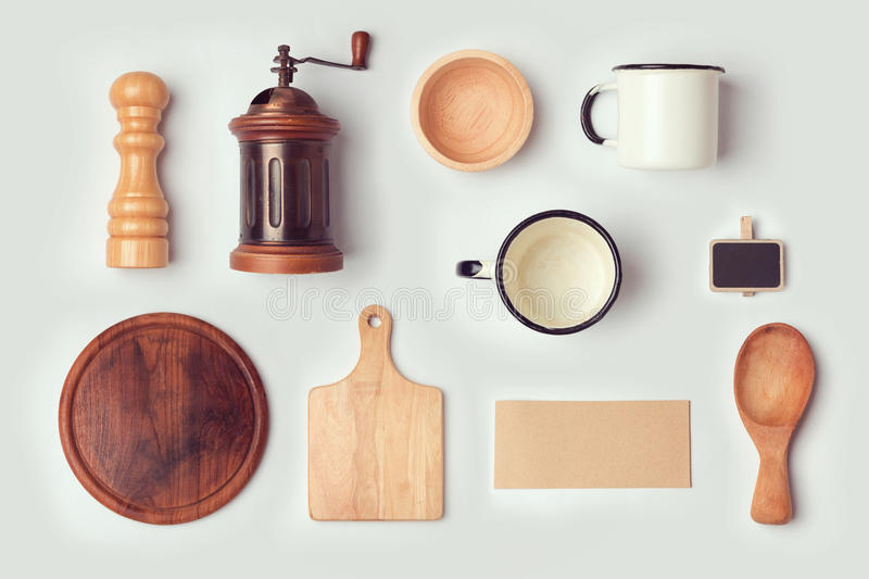 Kitchen mock up template with retro vintage objects. View from above. royalty free stock photos
