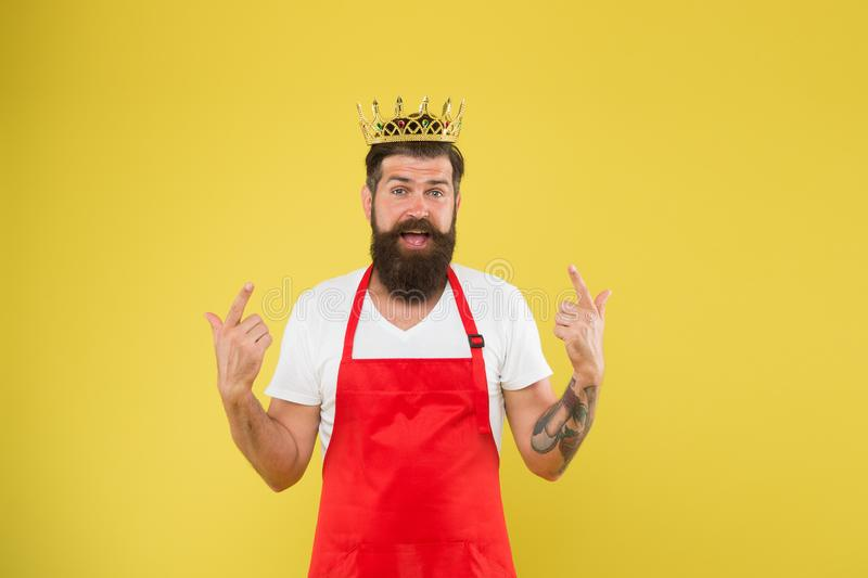 Kitchen is my kingdom. Ideas and tips. Chief cook and professional culinary. Cook food. Cook with beard and mustache stock photos