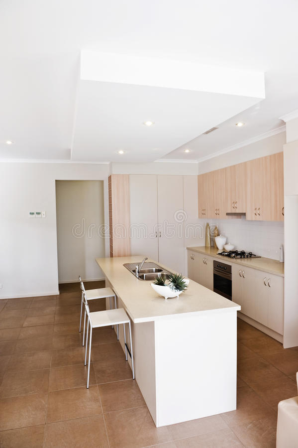 Kitchen in a new modern home stock images