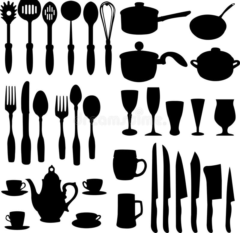 Kitchen objects. Silhouettes - illustration royalty free illustration