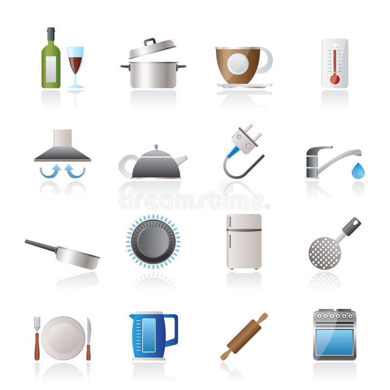 Download Kitchen Objects And Accessories Icons Stock Vector - Illustration of icons, plumbing: 28684094