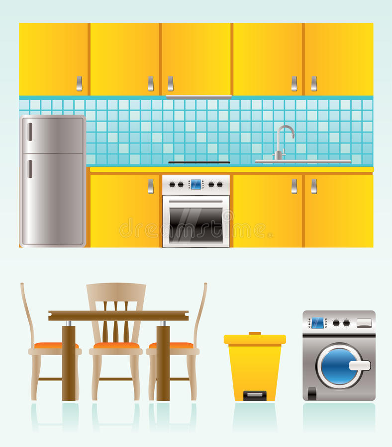 Kitchen objects, furniture and equipment vector illustration