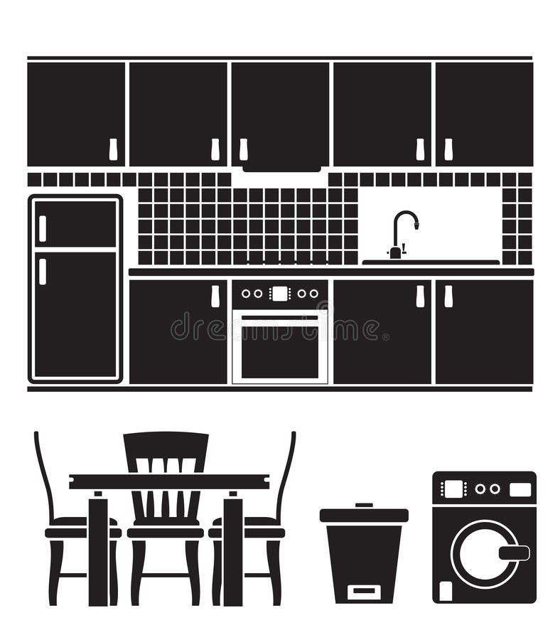 Download Kitchen Objects, Furniture And Equipment Royalty Free Stock Photo - Image: 18136235